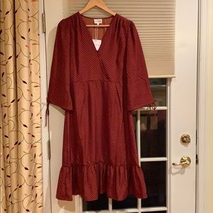 Love and Honey burgundy polka dot dress.